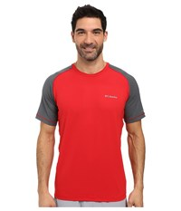 Columbia Trail Flash Short Sleeve Shirt Mountain Red Graphite Men's T Shirt
