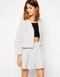 Asos Cropped Ovoid Quilted Blazer Grey