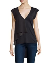 Halston Cap Sleeve V Neck Draped Top Black