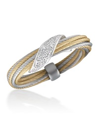 Alor Micro Cable Pave Diamond Wrap Ring Yellow Gray