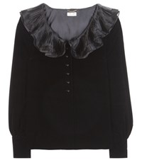 Saint Laurent Velvet Blouse Black