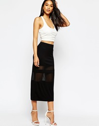 Asos Pencil Skirt With Sheer Inserts Black