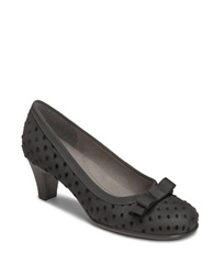 Aerosoles Playhouse Leather Pumps Black Mini Polka Dot