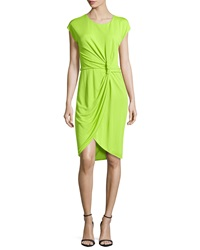 Halston Heritage Knot Waist Faux Wrap Dress Lime Green