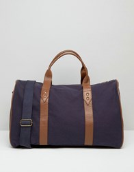 Asos Holdall In Navy Canvas With Brown Leather Trims Navy