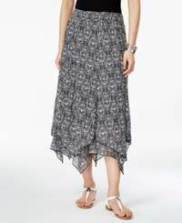 Styleandco. Style And Co. Printed Handkerchief Hem Skirt Only At Macy's Simple Scroll