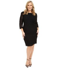 Adrianna Papell Plus Size 3 4 Sleeve Lace Dress Black Women's Dress