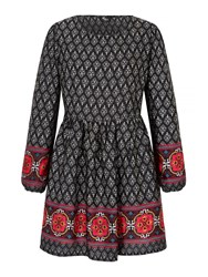 Mela Loves London Tapestry Print Skater Dress Black