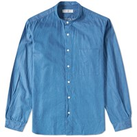 Tomorrowland Supima Band Collar Shirt Blue