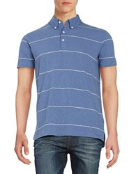Brooks Brothers Striped Polo Blue