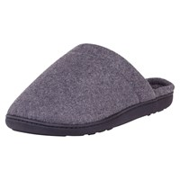 Totes Woven Check Lined Mule Slippers Grey