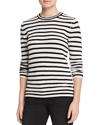 Aqua Cashmere Stripe Cashmere Sweater White Black