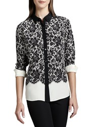 Go Silk Lace Print Silk Blouse Women's Ivory Multi