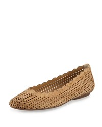 Neiman Marcus Selena Scalloped Cork Flat Natural