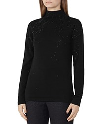Reiss Souli Sparkle Knit Sweater Black
