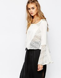 Band Of Gypsies Blouse With Lace Inserts Cream