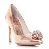 Ted Baker Peetch Brooch Trim Court Shoes Rose Gold