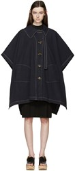 See By Chloe Navy Oversized Cape Coat