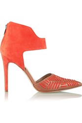 Sigerson Morrison Galicia Leather And Suede Pumps Orange