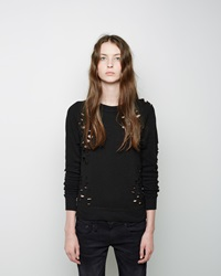 R 13 Shredded Zip Side Sweatshirt