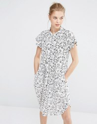 Y.A.S Tall Summery Dress In Illustrated Floral Print White Black
