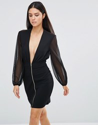 Rare Zip Front Plunge Mini Dress Black