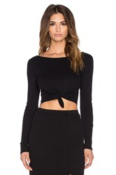 Amuse Society Brady Tie Front Crop Top Black