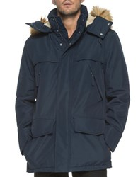 Marc New York Stowe Faux Fur Trimmed Hooded Jacket Ink
