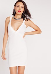 Missguided Ponte Plunge Bodycon Dress White White