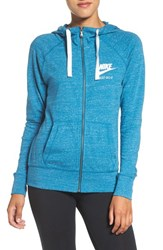 Nike Women's 'Gym Vintage' Front Zip Hoodie Blue Abyss Sail