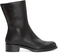 Haider Ackermann Black Leather Mid Calf Boots