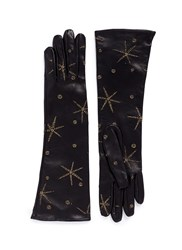Valentino Metallic Star Embroidered Long Leather Gloves Black