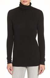 Halogenr Petite Women's Halogen Wool And Cashmere Funnel Neck Sweater Black