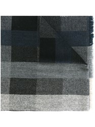 Oliver Spencer Checked Scarf Grey