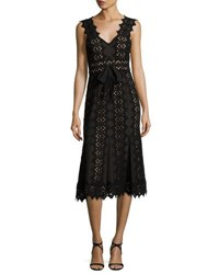 Catherine Deane Sleeveless Scalloped Lace Midi Dress Black Almond Black Almond