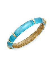 Alexis Bittar Lucite Liquid Striped Crystal Bangle Bracelet Turquoise