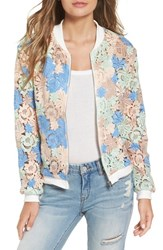 Glamorous Women's Sheer Crochet Lace Bomber Jacket