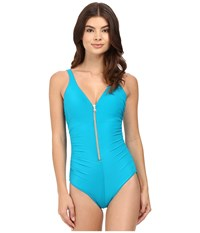 Miraclesuit Solid Ziptress One Piece Lagoon Women's Swimsuits One Piece Blue