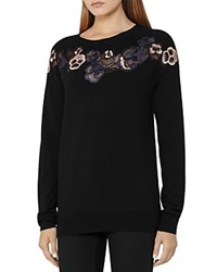 Reiss Amelia Embroidered Merino Wool Sweater Graphite Blue
