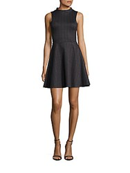 Saks Fifth Avenue Red Checked Fit And Flare Dress Black
