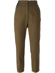 Mm6 Maison Margiela Cropped Slim Fit Trousers Brown