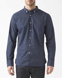Knowledge Cotton Apparel Blue White Spotted Button Down Collared Breast Pocket Shirt