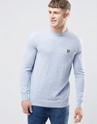 Lyle And Scott Jumper In Blue Cotton Linen Slub Blue Marl