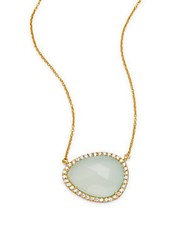 Argentovivo Pear Shaped Cubic Zirconia And 18K Gold Plated Pendant Necklace
