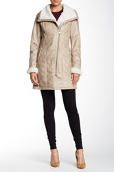 7 For All Mankind Faux Shearling Asymmetric Zip Coat Beige