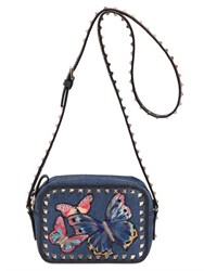 Valentino Butterfly Embroidered Denim Camera Bag