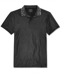 Guess Men's Printed Collar Shirt Jet Black