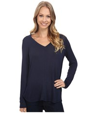 Bobeau Alice Long Sleeve Tee Navy Women's T Shirt