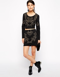 American Retro Johnny Heavily Embellished Mini Skirt Black