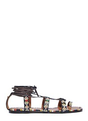 Valentino Painted Leather Wrap Sandals Brown